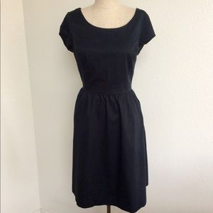 Navy Cotton Fit & Flare Dress